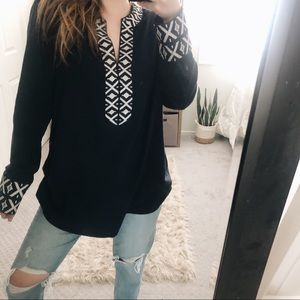 Tory Burch Tunic Embroidered Cuffs and Neckline 12